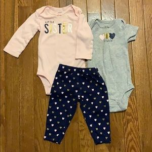 "Girls 3 piece pajamas 6 month ""lLittle Sister"" EUC"